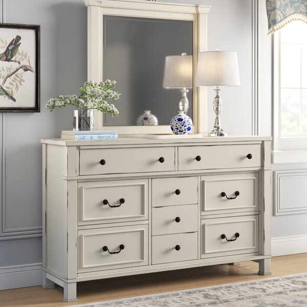 Derwent 9 Drawer Dresser with Mirror by Three Posts