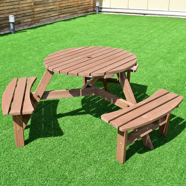 Zinnia Patio Wood Picnic Table by Highland Dunes