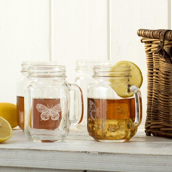 Butterfly 16 oz. Drinking Jar (Set of 4) by Lark M
