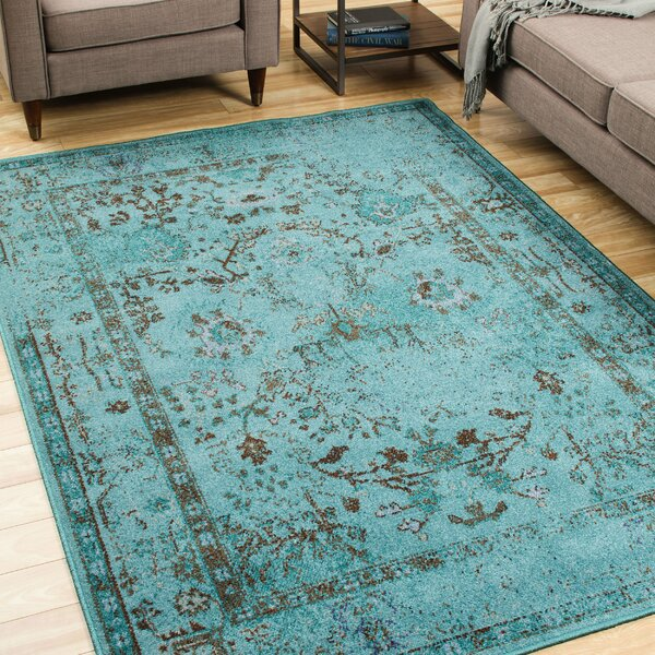 Bertina Hand Woven Teal Blue Area Rug by Trent Austin Design