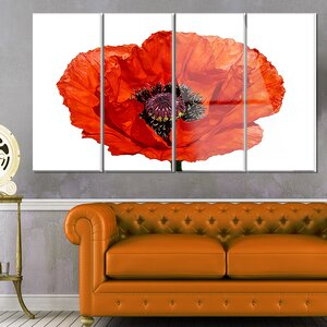 'Red Poppy Blossom Close-Up' 4 Piece Painting Print on Canvas Set by Design Art
