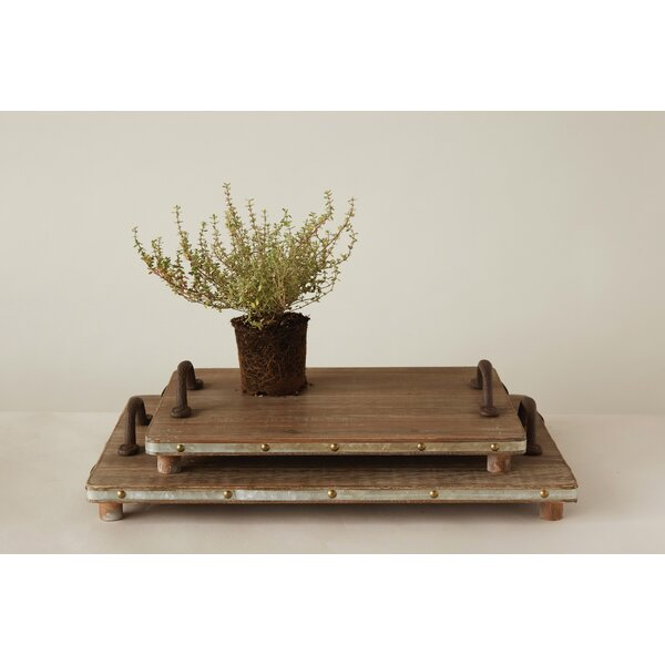 Vizcaino Wood 2 Piece Accent Tray Set by Gracie Oaks