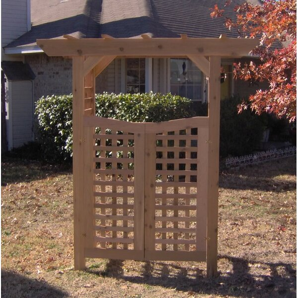 Classic Wood Garden Arbor with Gate by Threeman Products