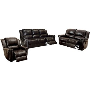 Tradera 3 Piece Leather Reclining Living Room Set by Red Barrel Studio®