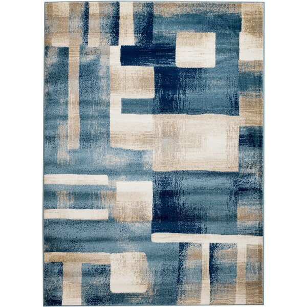 Sawyer Geometric Light Blue Area Rug by Ebern Designs