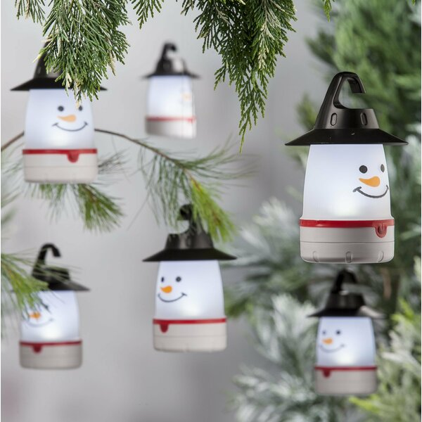 LED Snowman Lantern Lights (Set of 4) by Plow & Hearth