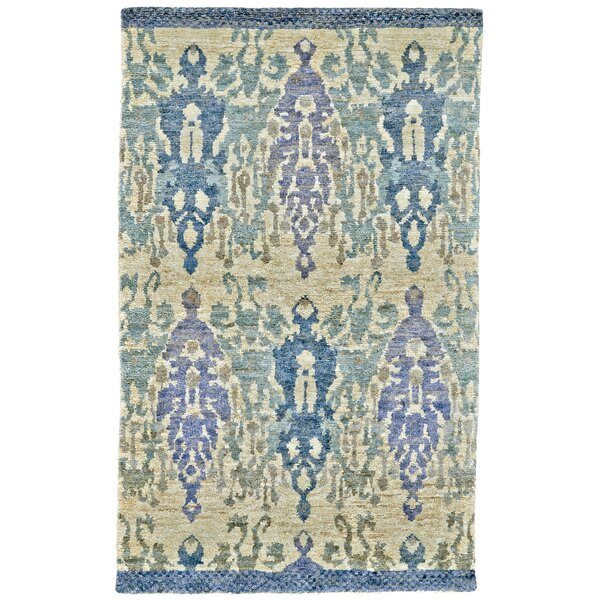 Rios Hand-Woven Blue/Beige Area Rug by Bungalow Rose