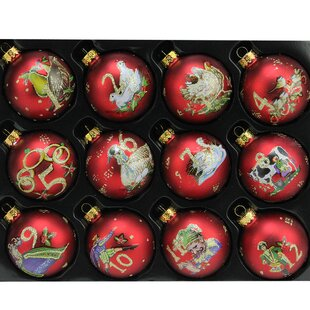 12 piece twelve days of christmas glass ball christmas ornament set