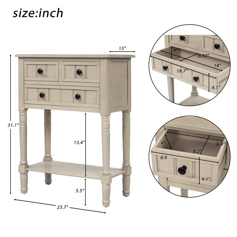 "Highland Dunes Newsom 23.7"" Solid Wood Console Table | Wayfair"