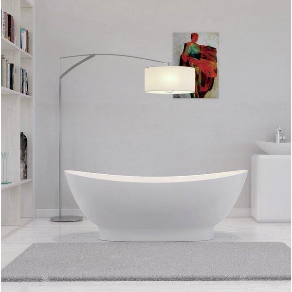 Solid Surface Resin 63 x 34 Freestanding Soaking Bathtub with Internal Drain by Streamline Bath