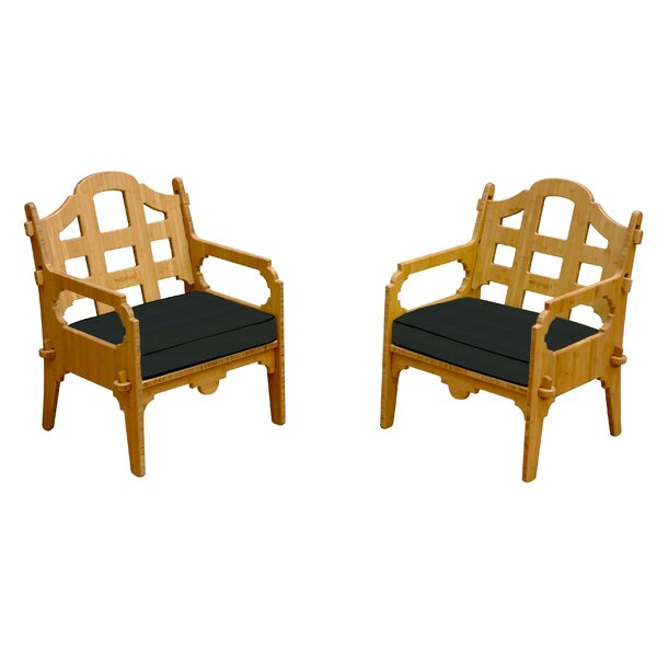 Burliegh Patio Chair with Cushions (Set of 2) by Loon Peak