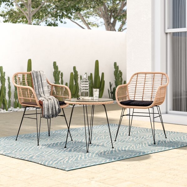Garett Wickered 3 Piece Bistro Set With Cushions By Mistana