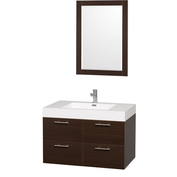 Amare 35 Single Espresso Bathroom Vanity Set with Mirror by Wyndham Collection