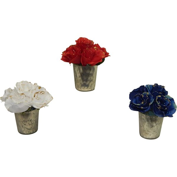 Holiday 3 Piece Glimmery Rose Arrangement Set by Ophelia & Co.