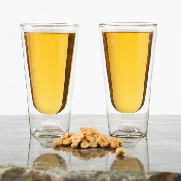 Lunagloww 14 oz. Double Wall Glass (Set of 2) by Highwave Inc.