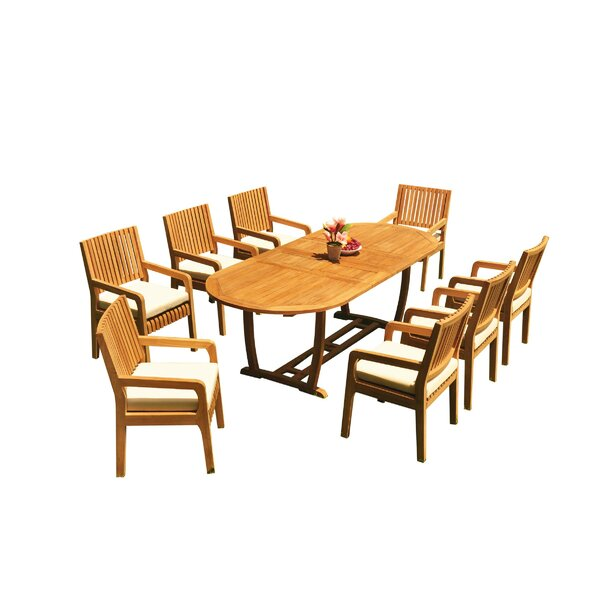 Maskell 9 Piece Teak Dining Set by Rosecliff Heights