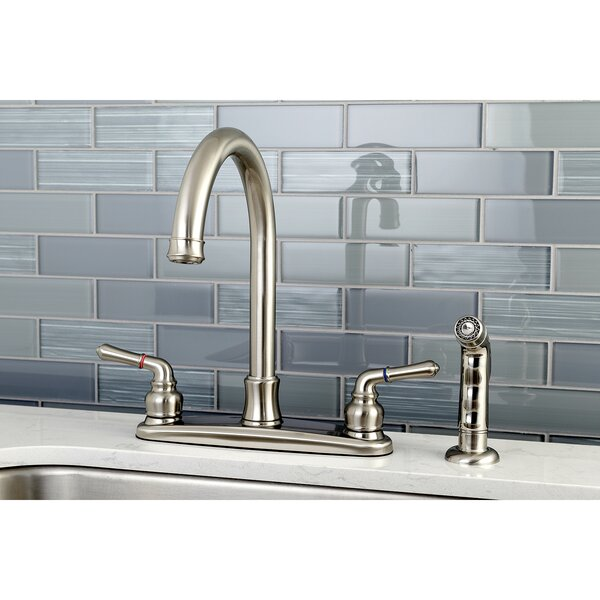 Naples Double Handle Kitchen Faucet with Side Spray by Kingston Brass