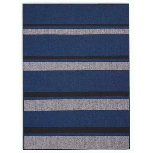 San Diego CK730 Striped Hand-woven Flatweave Cobalt Blue/Black Area Rug by Calvin Klein