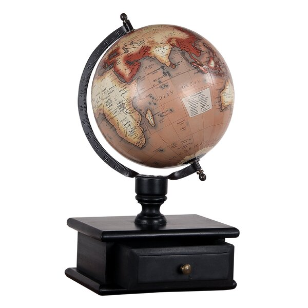 Vintage MDF Wood Storage Drawer Globe by Charlton Home