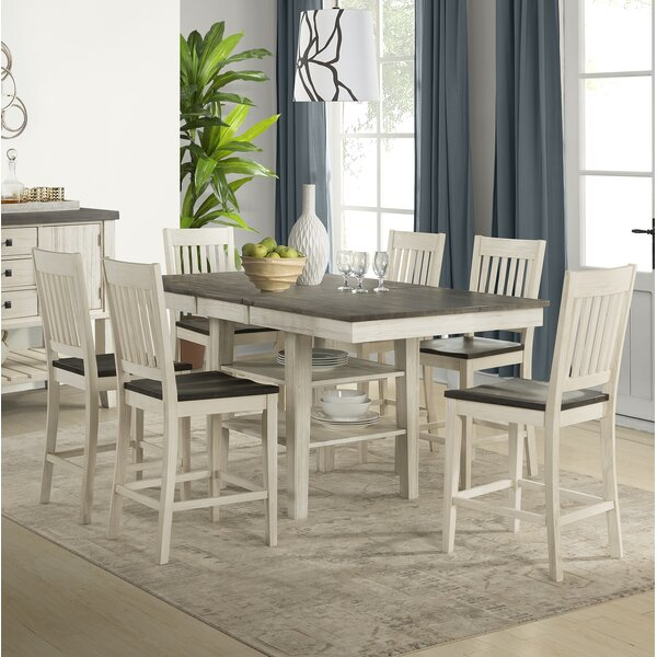 Scales 7 Piece Extendable Solid Wood Pub Table Set by Gracie Oaks