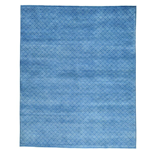 One-of-a-Kind Tone on Tone Hand-Knotted Blue Area Rug by Bungalow Rose