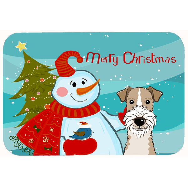 Snowman with Wire Haired Fox Terrier Kitchen/Bath Mat by Caroline's Treasures