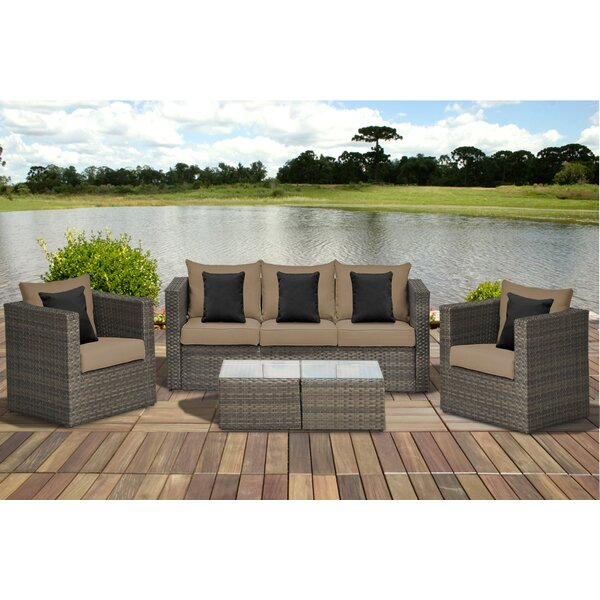 Moyne 5 Piece Rattan Sectional Seating Group with Cushions by Beachcrest Home