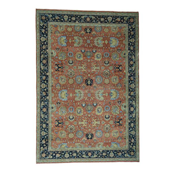 One-of-a-Kind Dorcey Antiqued Tabriz Hand-Knotted Wool Rust Red/Blue Area Rug by Canora Grey