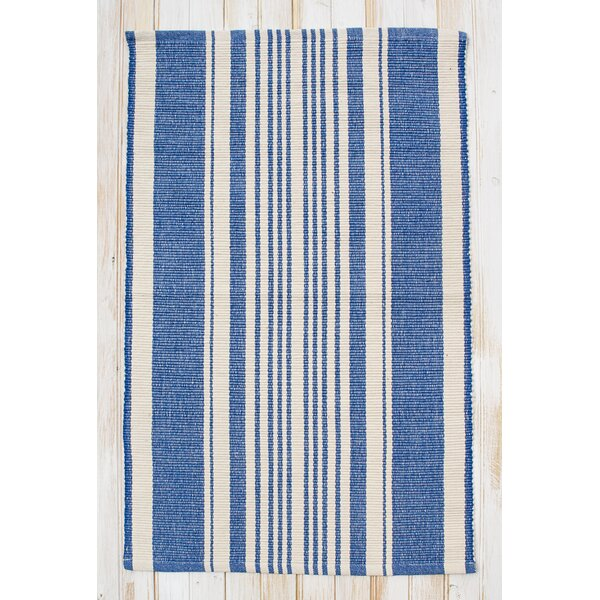 Boothbay Hand-Woven Cotton Blue/Natural Area Rug by CLM