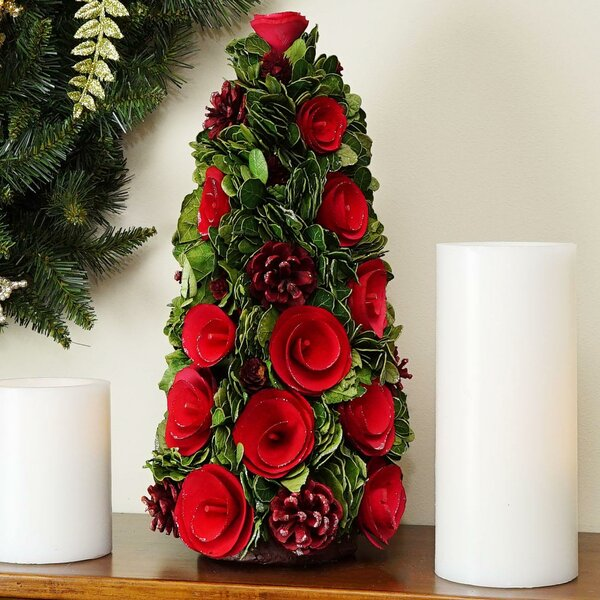 Desktop Rose Flower and Pine Cones Christmas Tree Decorative Plant by The Holiday Aisle
