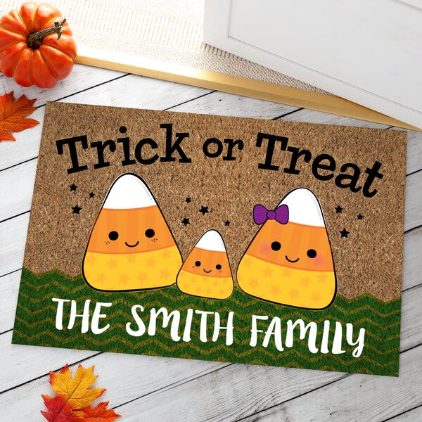 Aguon Candy Corn Family of Three Personalized Doormat by The Holiday Aisle