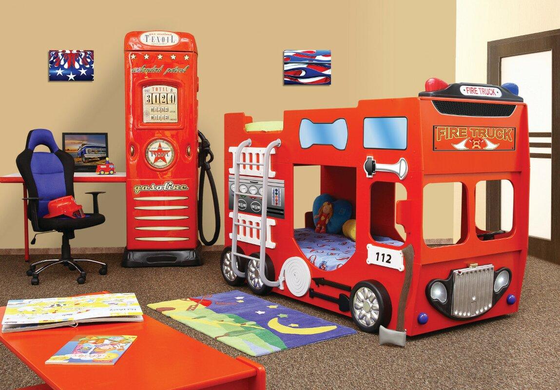 Bedroom Sets For Boys Plastiko Fire Truck Toddler Bunk Bed Wayfair