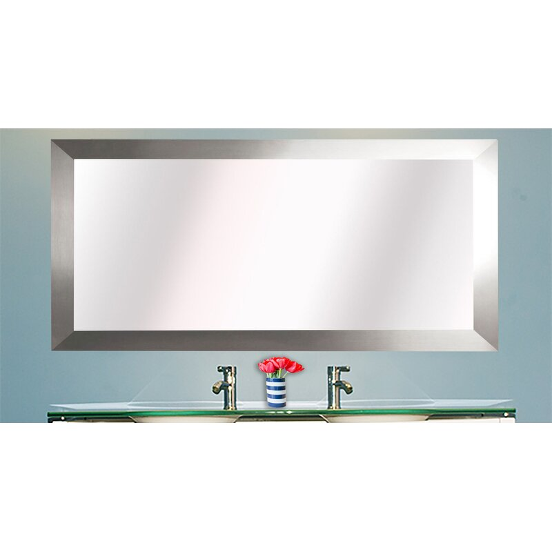 Latitude Run Hogge Modern Brushed Nickel Large Frame Wall Mirror ...