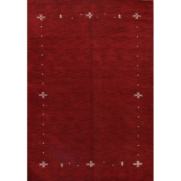 Finlayson Gabbeh Oriental Hand-Knotted Wool Red/Burgundy Area Rug by Bloomsbury Market