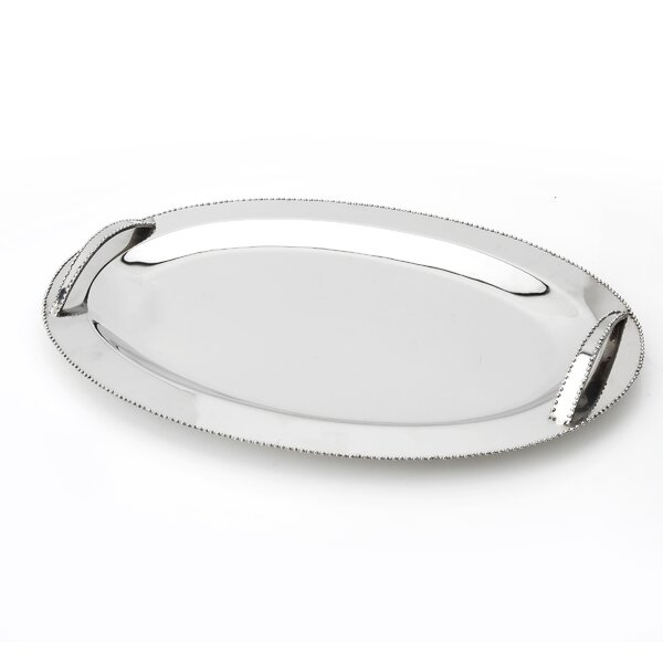 Tervy Beaded Stainless Steel Platter by Classic Touch