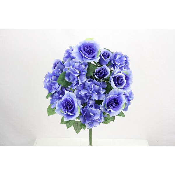 18 Stems Artificial Full Blooming Rose and Hydrangea with Greenery by Admired by Nature