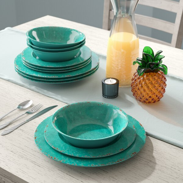 Candice Crackle Melamine 12 Piece Dinnerware Set, Service for 4 by Beachcrest Home