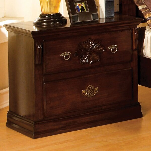 Floral 2 Drawer Nightstand by Hokku Designs