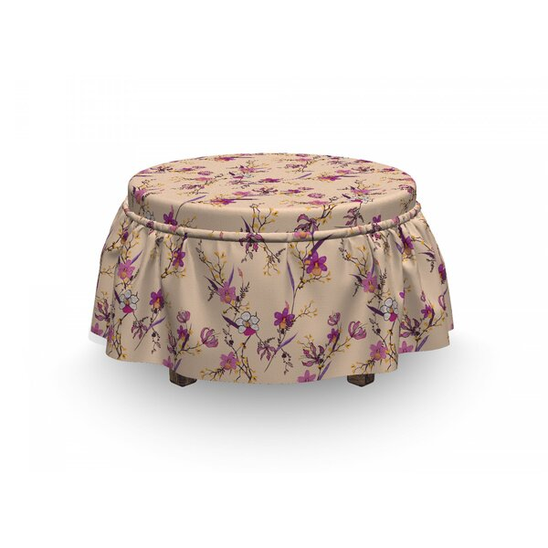 On Sale Delicate Exotic Flowers Ottoman Slipcover (Set Of 2)