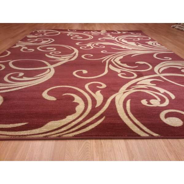 Beige & Burgundy Area Rug by Rug Tycoon