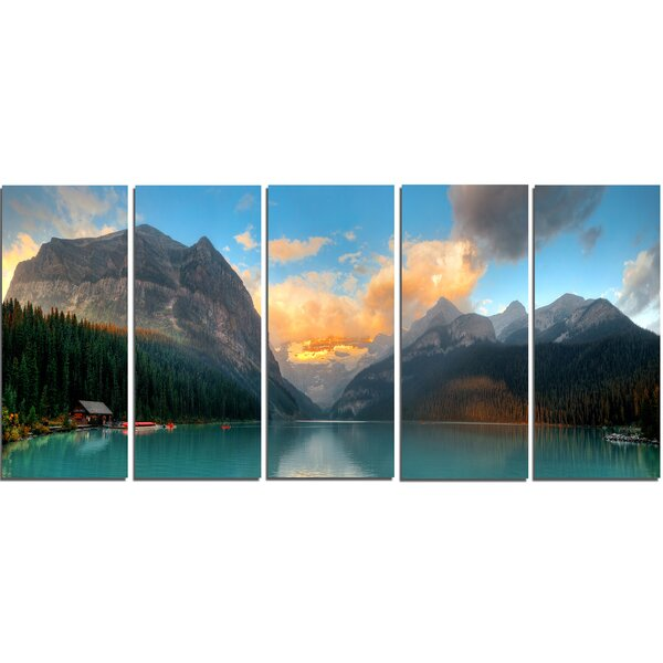 Lake Louise Sunrise Banff Park 5 Piece Wall Art on Wrapped Canvas Set by Design Art
