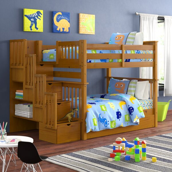 Tena Stairway Full over Full Bunk Bed with Trundle and Drawers by Harriet Bee