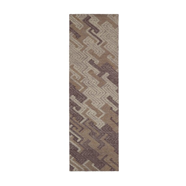 Stockman Hand-Tufted Wool Purple/Light Brown Area Rug by Wrought Studio