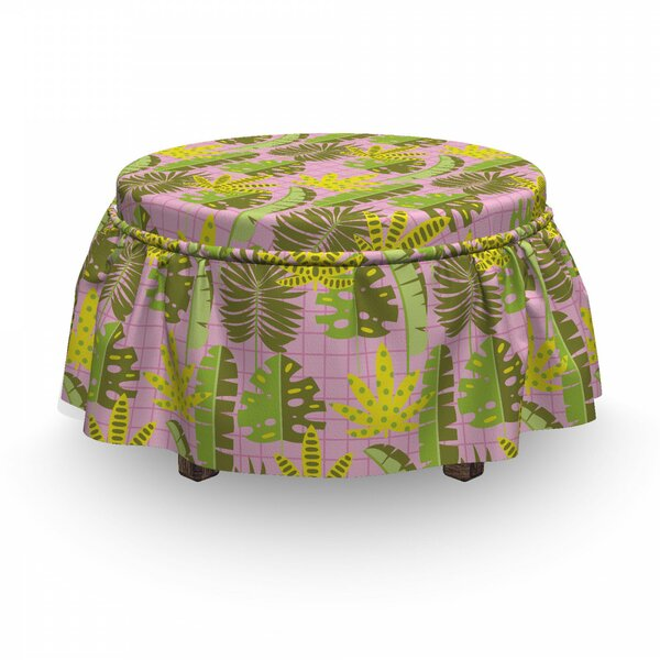 Tropic Leaves On Checkered Ottoman Slipcover (Set Of 2) By East Urban Home