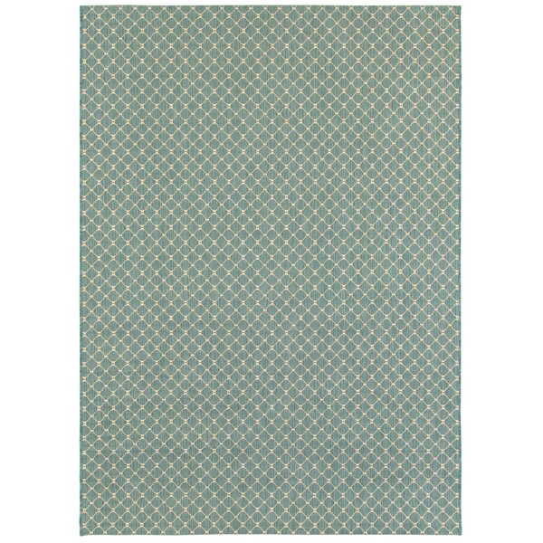 Hoelscher Aquamarine Indoor/Outdoor Area Rug by Highland Dunes