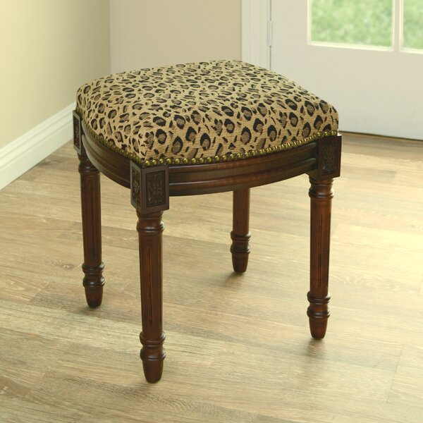 Leopard Print Upholstered Vanity Stool by 123 Creations