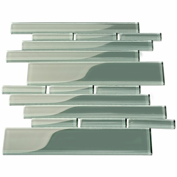 Club Random Sized Glass Mosaic Tile in Glossy Gray by Giorbello