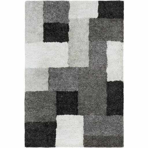 Annie Geometric Hand-Tufted Ivory/Black Area Rug by Orren Ellis