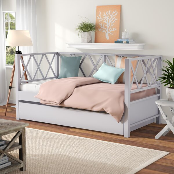 Hayes X Back Twin Daybed with Trundle by Beachcrest Home Beachcrest Home