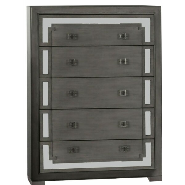 Devrek Wood and Mirror 5 Drawer Chest by Wrought Studio